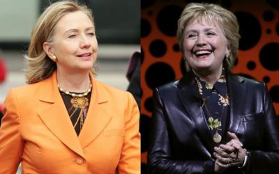 """Hillary Clinton deja los """"pantsuit"""" por un look de contrastes,..."""