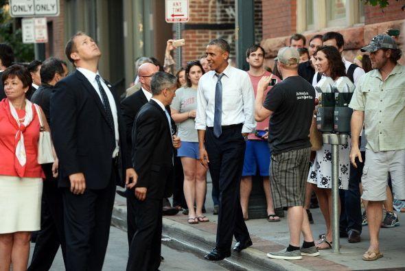 El presidente fue bien recibido en Colorado y él se mostró muy sonriente.
