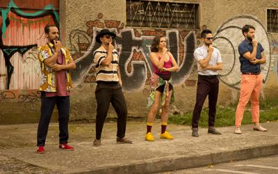 Colombian band Puerto Candelaria in a scene from the music video for 'La...