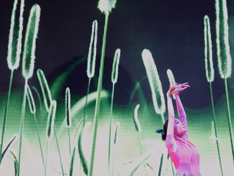 Los bailarines realizan sus acrobacias en el escenario durante las cele...