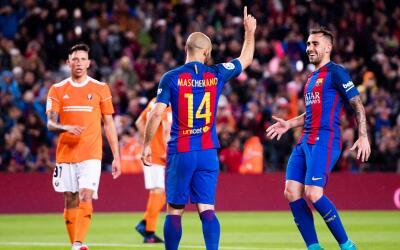 Mascherano celebrando su primer gol con el Barcelona.