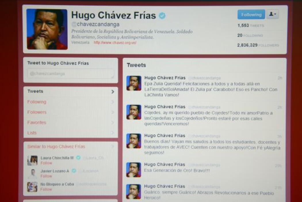 #2. Hugo Chávez (@chavezcandanga). Su cuenta creció por dos millones de...