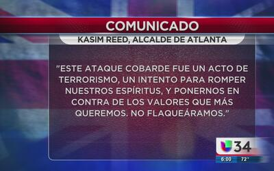 Alcalde de Atlanta lamente los actos terroristas en Manchester
