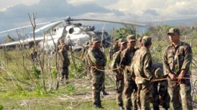 Un helicóptero militar de Nicaragua en el que viajaba el jefe del Estado...