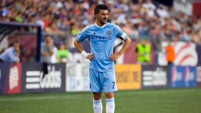 David Villa paciente para cobrar un tiro libre con New York City FC