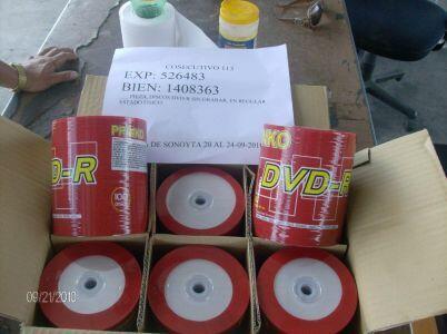 Hay aproximadamente 1,822,800 piezas de discos DVD sin grabar en regular...