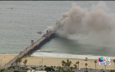 Declaran emergencia en Seal Beach tras incendio en el muelle