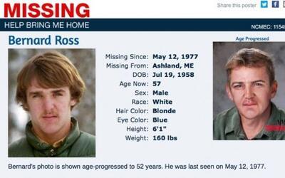 """Bernard """"Bunny"""" Ross Jr cuando desapareción y su posible aspecto a día d..."""