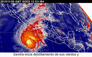 El huracán Sandra comienza a debilitarse.