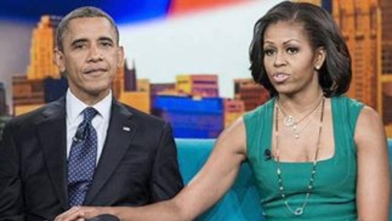 El Presidente de EEUU, Barack Obama y su esposa Michelle en una grabació...