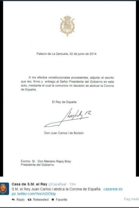 A través de esta carta, el rey le hizo saber su deseo a Rajoy.