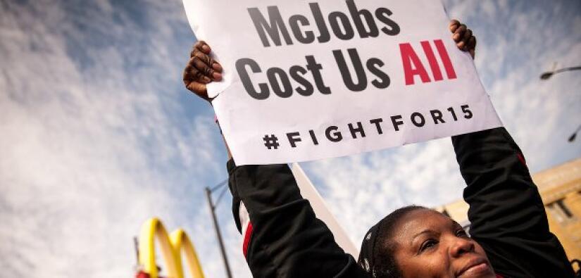 Protesta de empleados de McDonald´s