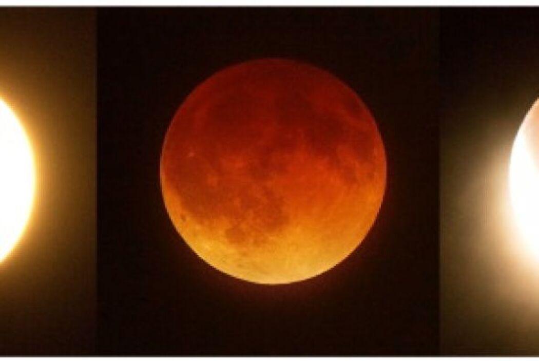 En el eclipse total, la Luna pudo verse de un intenso color rojo.