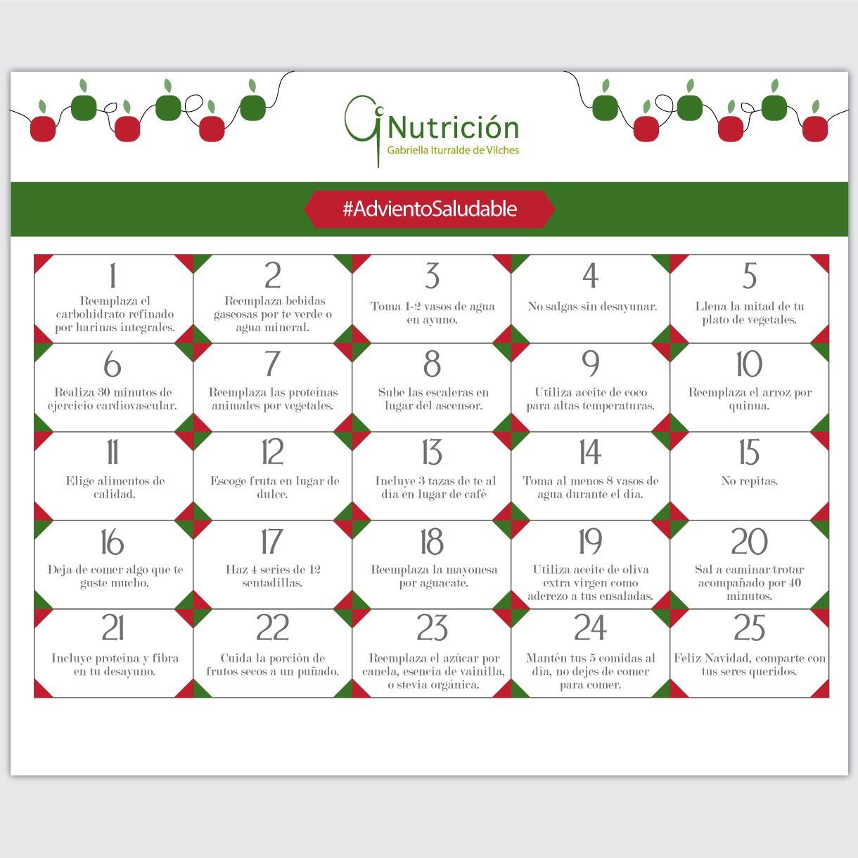 Adviento Saludable: Un Calendario A Seguir Día A Día