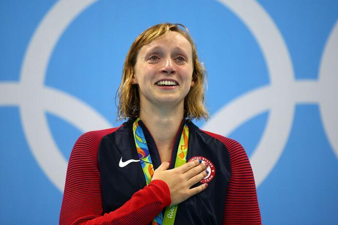 En la final de los 800 metros libre femenino, Katie Ledecky, la gran fav...