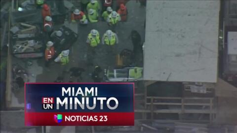 'Miami en un Minuto': trasladan a un hospital al obrero que cayó de un c...