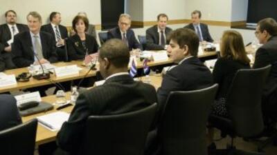 La reunión entre ambas delegaciones de este jueves.
