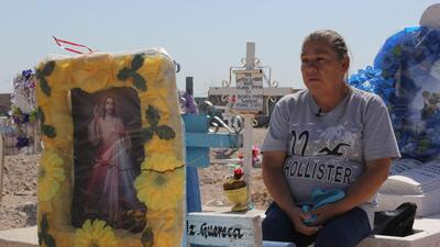 María Guadalupe Güereca visits the grave of her son, Sergio Adrián Herná...