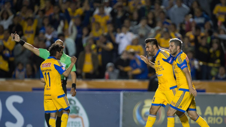 Tigres festeja el primer gol ante el RSL.