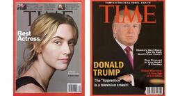 Una portada real de la revista Time (izqda.) y la portada falsa en los c...