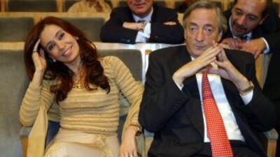 Néstor Kirchner y su esposa, Cristina Fernández, ambos mandatarios de