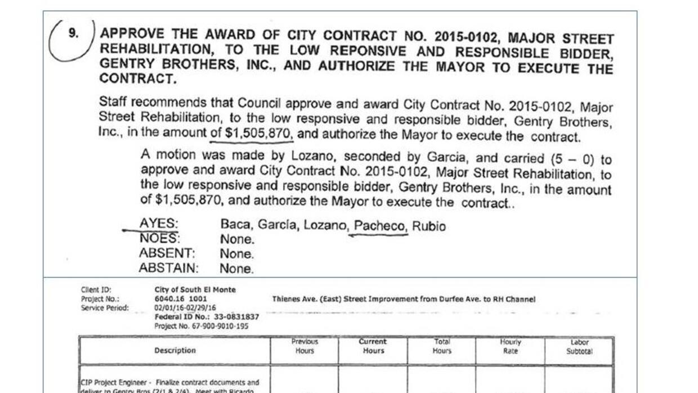 Arriba, el voto del concejal de Baldwin Park, Ricardo Pacheco, para otor...