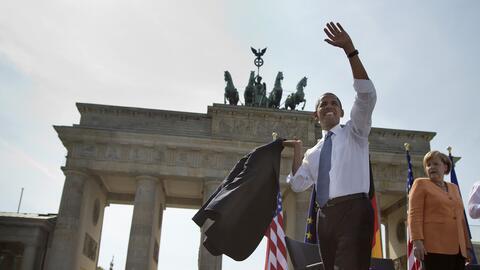 El presidente Barack Obama y la canciller alemana Angela Merkel en la Pu...