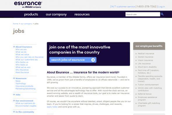 8. Esurance Inc.  Sector de la industria: Seguros.  Ejemplos de puestos:...