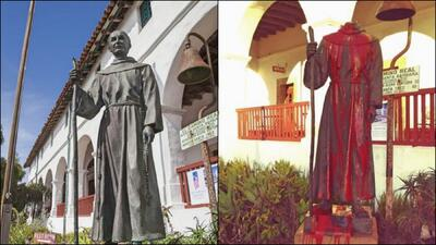 Decapitado y teñido de rojo, así dejaron la estatua de un misionero español en California