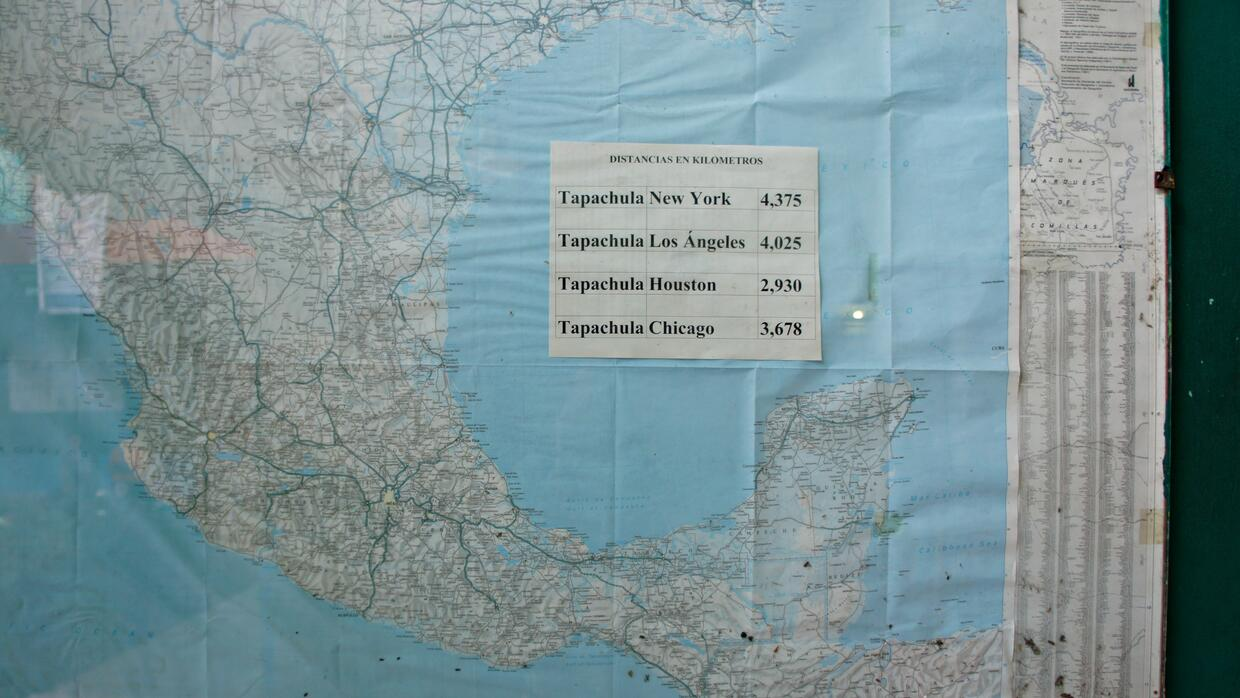 A map at the Belén shelter in Tapachula, Mexico, tells migrants how far...