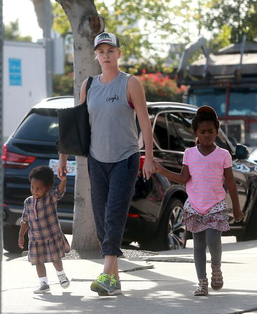 Actress Charlize Theron was spotted out and about with her kids Jackson...