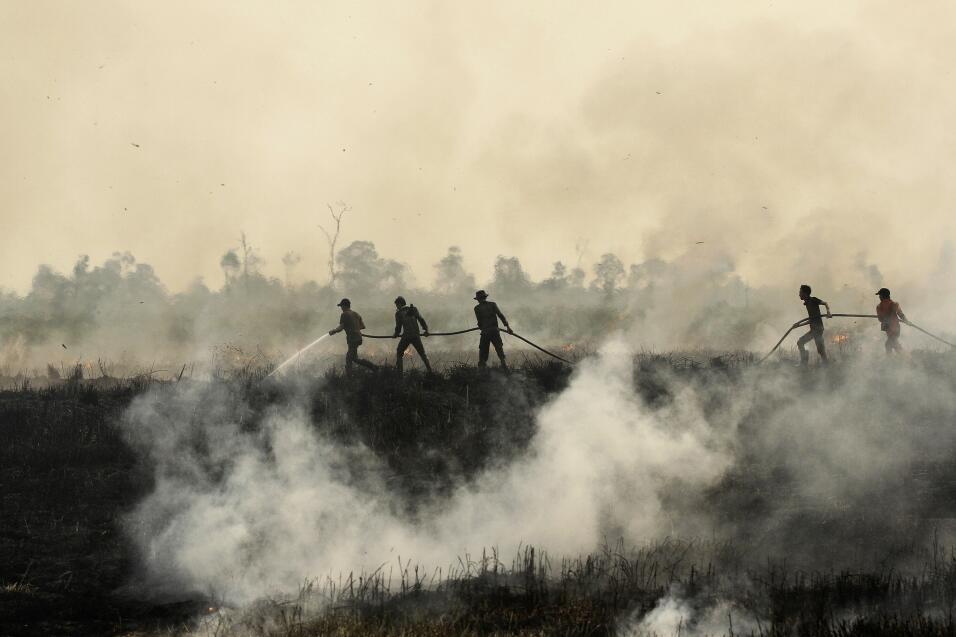 Bomberos luchan por apagar un incendio en Ogan Ilir en Sumatra del Sur....