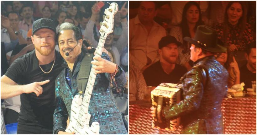 Canelo Álvarez disfruta concierto de Tigres del Norte muy bien acompañado.