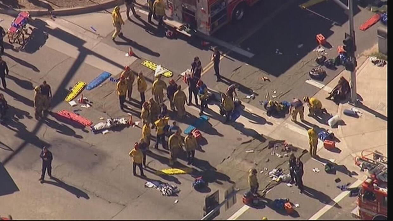 Imagen aérea del tiroteo en San Bernardo