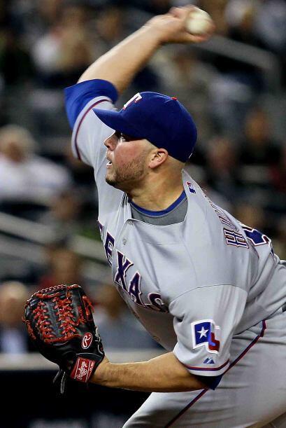 El abridor texano, Tommy Hunter, tampoco pudo contra los Yankees y salió...