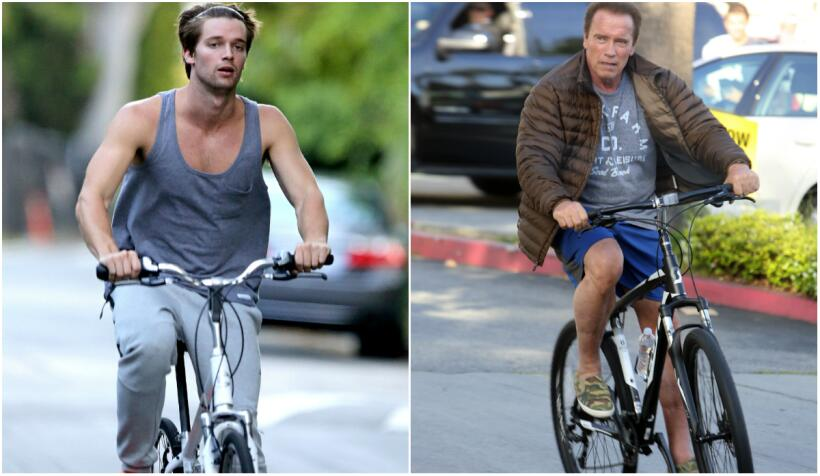 Los Schwarzenegger pasean en bici