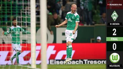 Werder Bremen derrotó al Wolfsburgo y es co-líder en Alemania