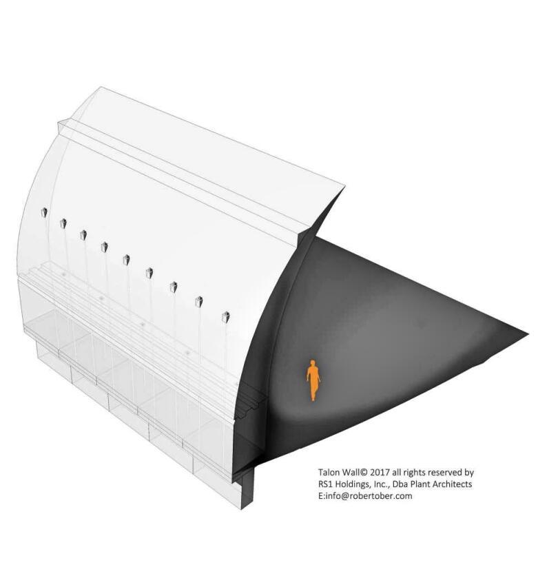 El muro garra: Un concepto de muro de concreto en curca de 30 pies de al...