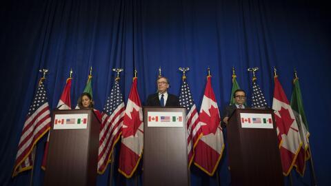 Los ministros de Canadá, Estados Unidos y México realizan...