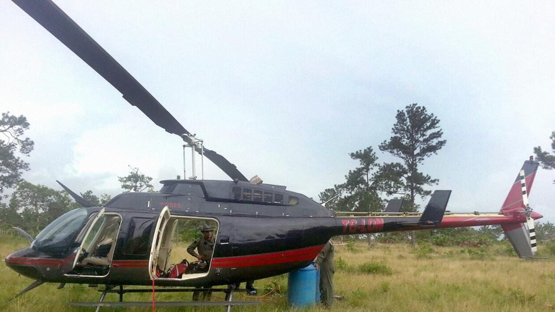 Helicóptero del narcotráfico incautado por el Ejército hondureño en 2014.