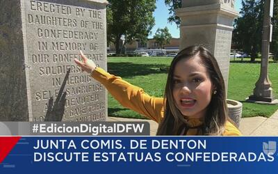 Activistas presionan a comisionados de Denton para retirar estatuas conf...