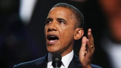 El Presidente Barack Obama p;ronuncia su discurso de aceptación en el ci...