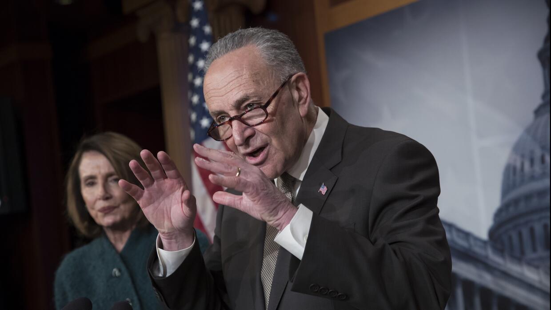 Chuck Schumer y Nancy Pelosi explican a los reporteros la posición de lo...