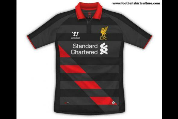 El tercer uniforme del Liverpool de la Liga Premier Ingleesa parece tene...