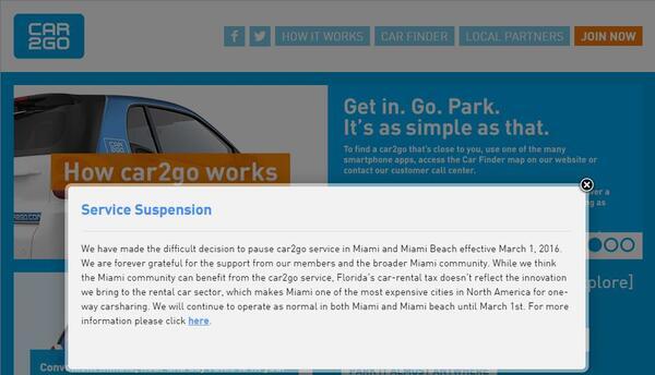 Car2go suspende su servicio en Miami y Miami Beach