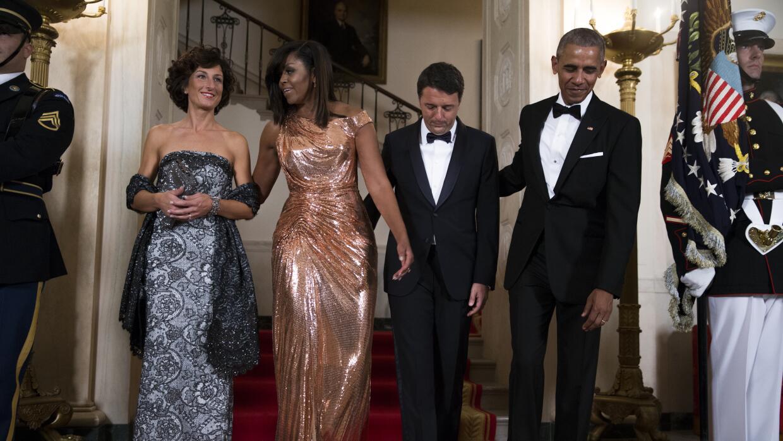 Michelle Obama en su última cena de Estado en la Casa Blanca