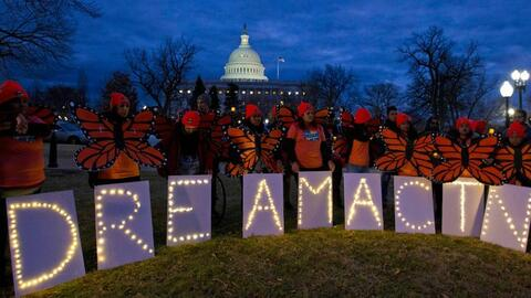 Demonstrators rally in support of DACA outsidce the Capitolin Washington...