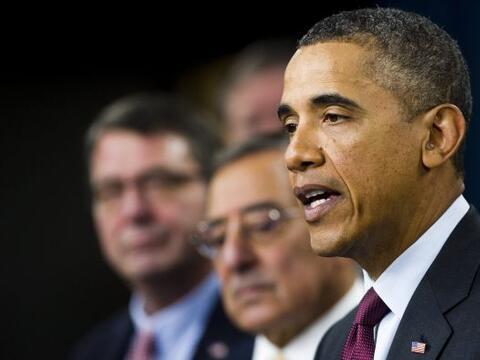 En una conferencia desde el Pentágono el presidente Barack Obama...