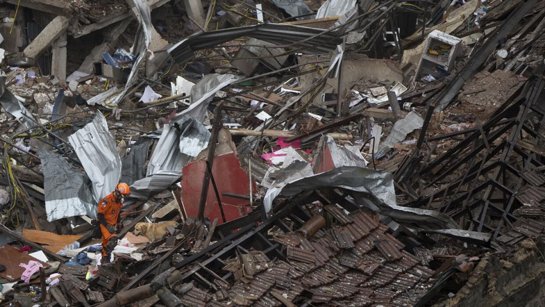 Equipos de rescate con perros buscan supervivientes en Río de Janeiro tr...
