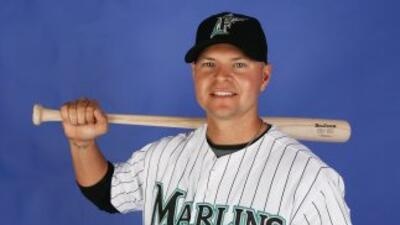 Cody Ross con el uniforme de los Marlins